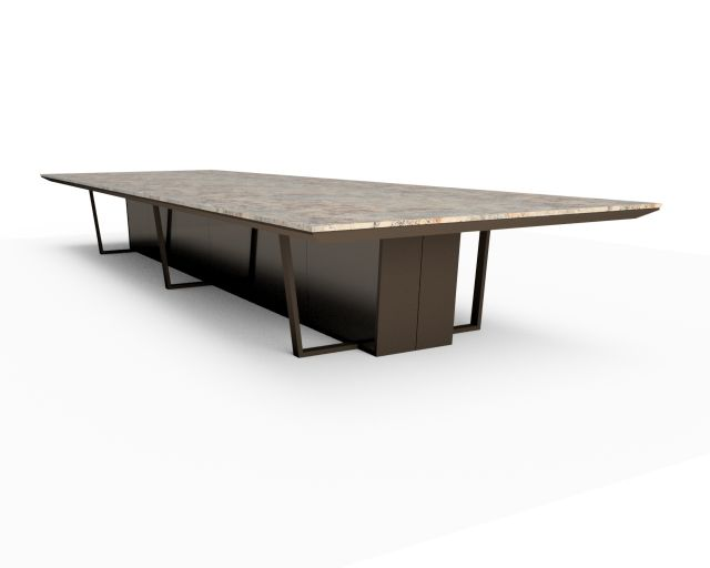 Crossbeam | Conference Table | Sienna Bordeaux Stone Top | Aged Bronze Base | Mirrored Acrylic Panels | 2 Spines - 240 x 72