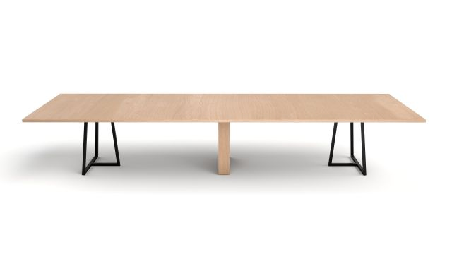 Two4Six Meeting | Meeting Table | Laminate Top | Black Powdercoat Open Frame Base and Rectangle Veneer Center Base