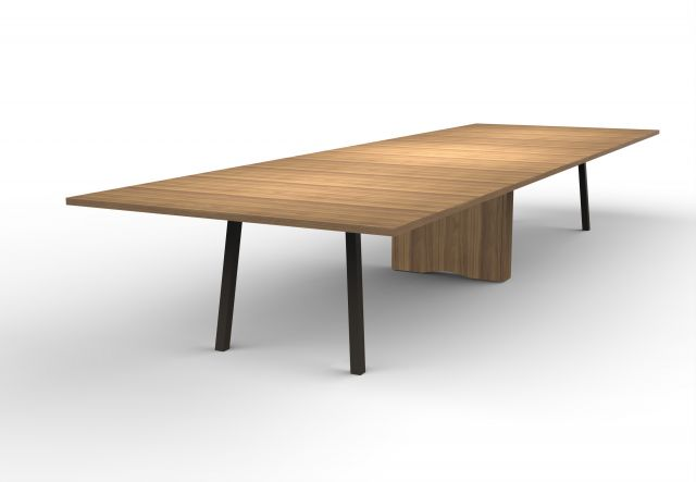 Two4Six Meeting | Meeting Table | Walnut Veneer | Metal Post Legs and Rectangle Base