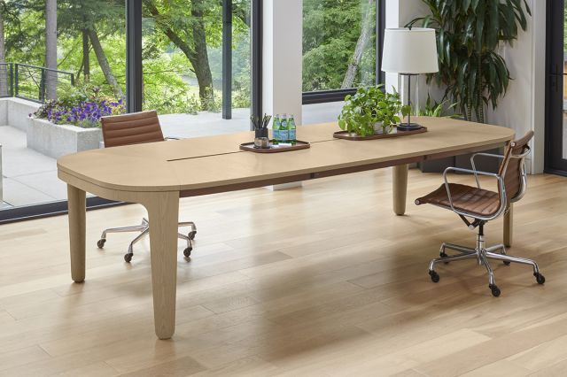 Alev Meeting | Conference Table | Segmented Top | Dune Veneer | Satin Bronze Metal Side Accent | Community Space