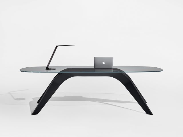 Alev V | Meeting Table | Clear Glass Top | M82 Onyx Walnut Veneer Base | Desk