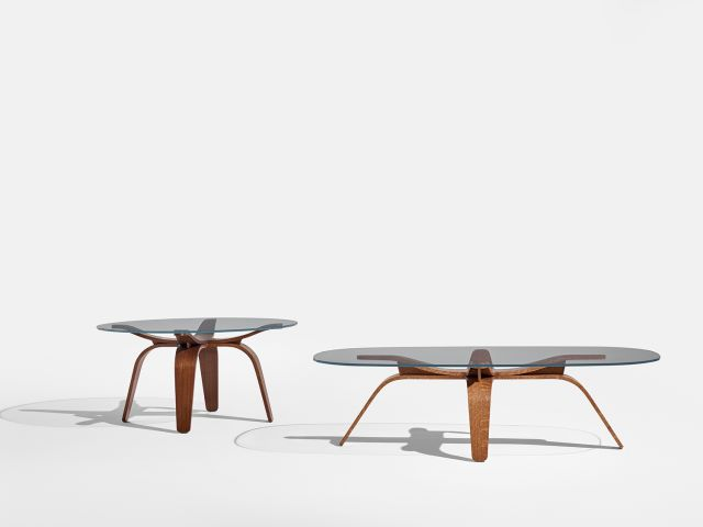 Alev X | Chat and Coffee Height Tables | Custom Finish on Qtr. Walnut (Chat) and Flaky Oak (Coffee)