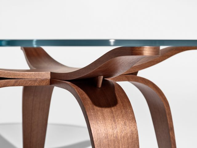 Alev X | Occasional Table | Custom Finish on Qtr. Walnut | Chat Height | Detail