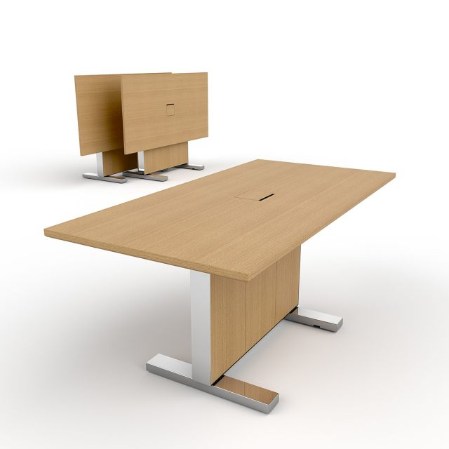 Approach | Reconfigurable Table | Rectangle Shape 66x 33| Oak Linea Veneer | Polished Chrome Metal Accents