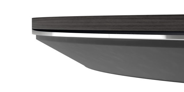 Ascari Conference   Square Edge with Metal Detail   Veneer top   Polished Chrome Detail   Painted Subtop