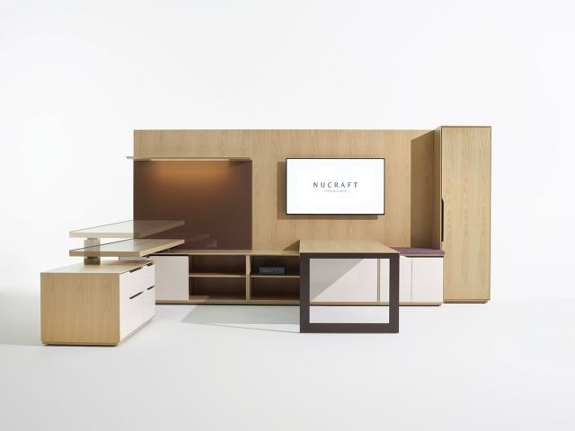 Ascari | Casegood | Custom Veneer | Adjustable Desk | U Shape