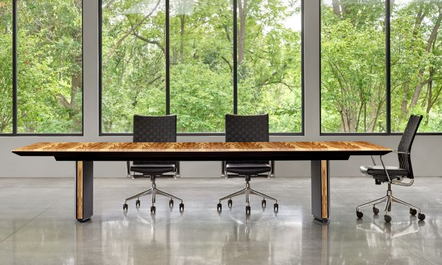 Ascari Conference    Rectangle COM Red Gum Veneer Top   Black Brisa Ultrafabrics Wrapped Panel Bases with Red Gum Veneer Reveal   With Chairs