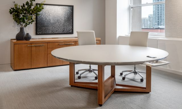 Ascari Conference   Round Table and Credenza   Chicago Showroom