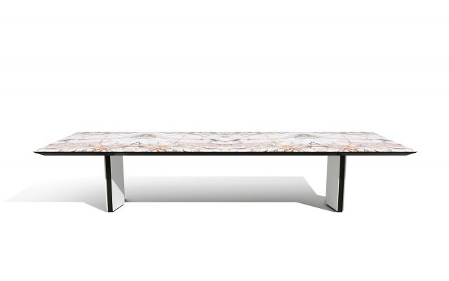 Ascari Conference   Rectangle Stone Top   Closed Panel Base in Cloud Paint