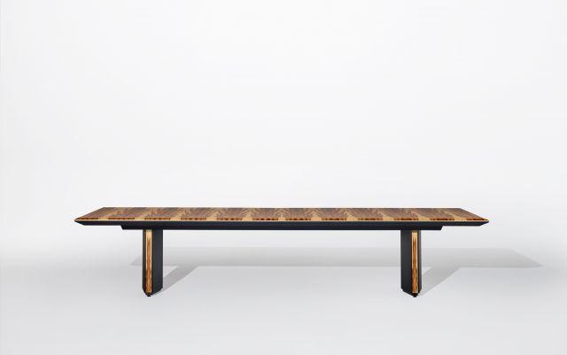 Ascari Conference   Custom Veneer Rectangle Table   Leather Wrapped Closed Panel Base