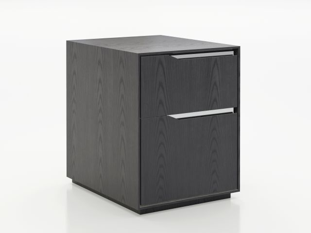 Ascari | Mobile Pedestal | Char Ash Veneer | Polished Chrome Metal Accents