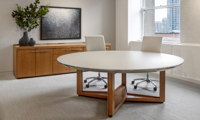 Ascari Conference and Ascari Credenza   Round Glass Table with Open X Base in veneer   Ascari Conference Height Credenza in COM veneer   Chicago Showroom