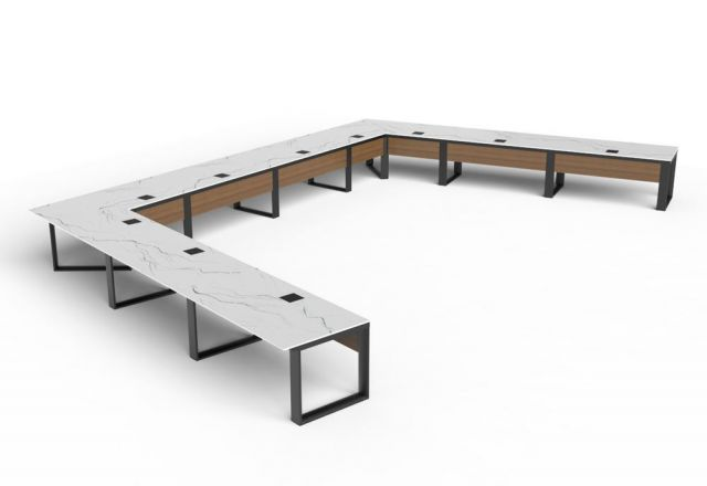 Custom | Flow | Stone U-Shape Boardroom Table