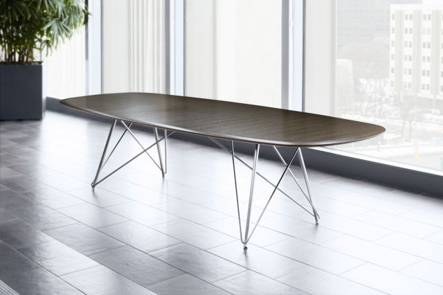 Baja | Conference Table |  G71 Sable Black Limba Veneer | Soft Rectangle Top, Surf Edge | Polished Chrome Wire Frame Base