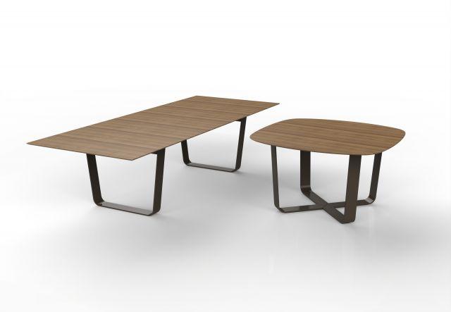 Baja | Hoop Base Tables | Walnut Veneer | Soft Square and Rectangle Shape