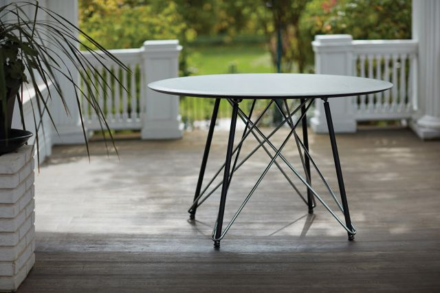 Baja | Meeting Table | Custom Veneer Top | Polished Chrome and Black Powdercoat | Wire Frame Base