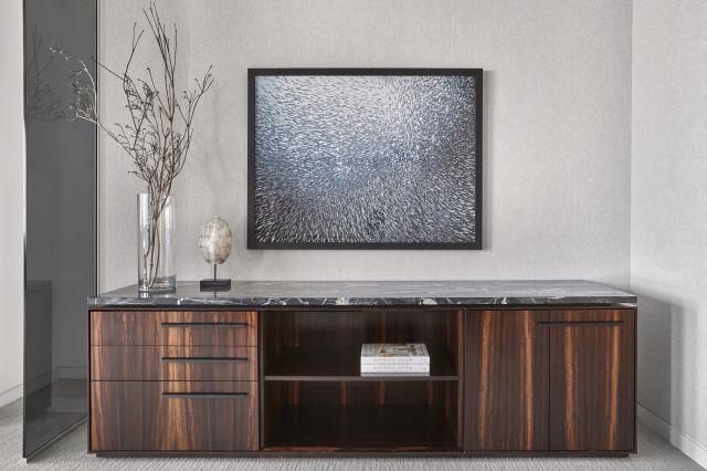 Ascari | Credenza | Custom Veneer | Stone Top | Chicago Showroom