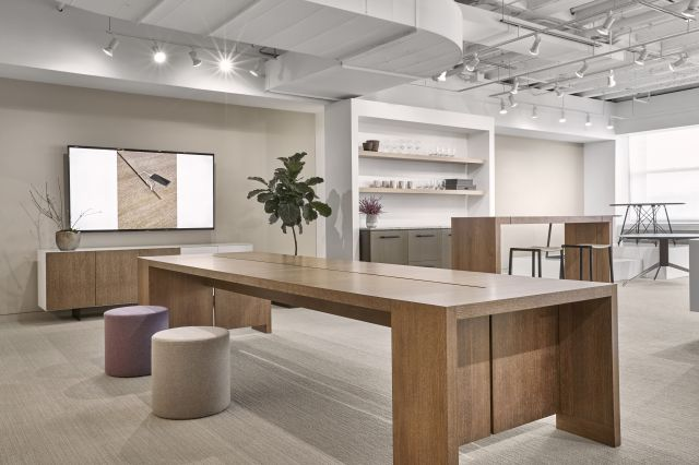Preston | Community Table | Flaky Oak Veneer | Chicago Showroom