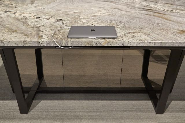 Crossbeam | Conference Table | COM Stone Top | Power Drawer | Chicago Showroom