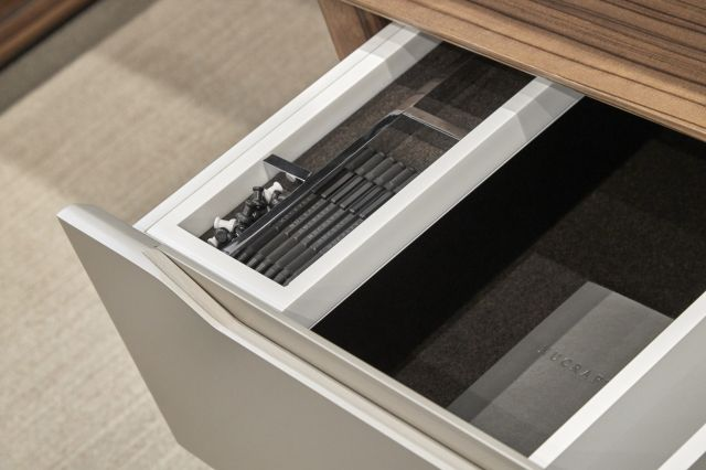 Ascari | Casegood | Canyon Paldao Veneer | Burnished Painted Door Fronts | Drawer Detail 2 | Chicago Showroom