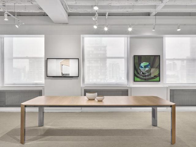 Tova | Conference Table | Development Finish on Oak | Polished Chrome Base | Chicago Showroom