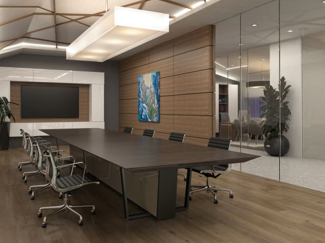 Crossbeam | Conference Table | Portobello Oak Veneer Top | : AC05 Bronze Mirrored Acrylic Base Panels | Aged Bronze Powdercoat Base | 240 x 60