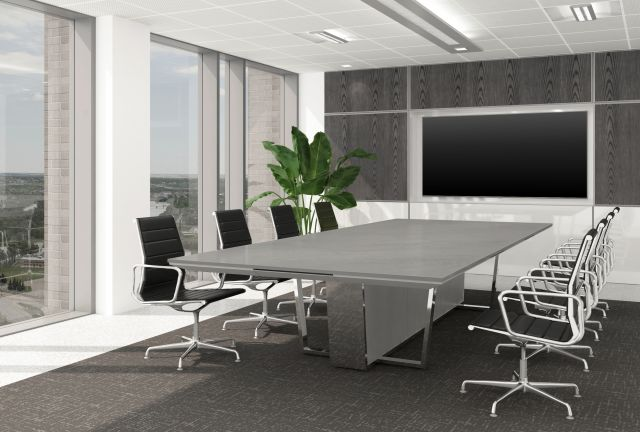 Crossbeam | Conference Table | Ceasarstone Airy Concrete 404 Top | 927 Light Stainless Aluminum Base Panels | PC Polished Chrome Base | 144 x 60