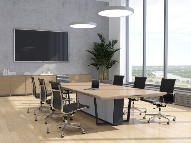 Crossbeam | Conference Table | 5883-58 Pecan Woodline Laminate Top | 927 Light Stainless Aluminum Base Panels | A8012 Storm Base | 144 x 60