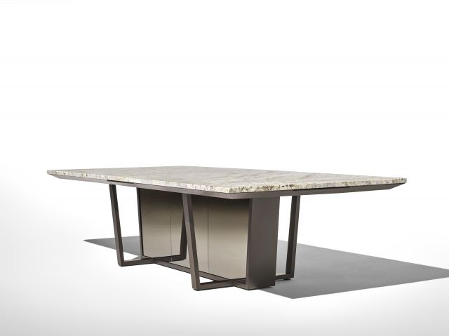 Crossbeam | Conference Table | COM Stone | Aged Bronze Base | Bronze Mirrored Acrylic | Angled View