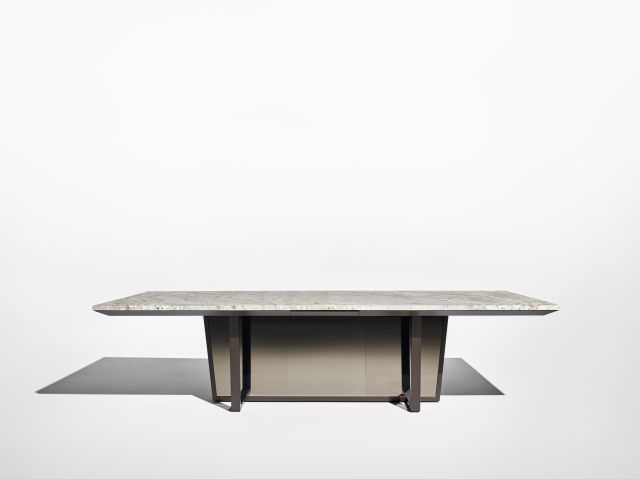 Crossbeam | Conference Table | COM Stone | Aged Bronze Base | Bronze Mirrored Acrylic | Side View