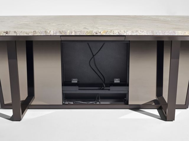 Crossbeam | Conference Table | COM Stone | Aged Bronze Base | Bronze Mirrored Acrylic | Wire Management