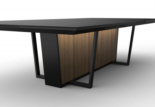Crossbeam | Conference Table | Black Glass Top | Black Powdercoat Base | Veneer Base Panels
