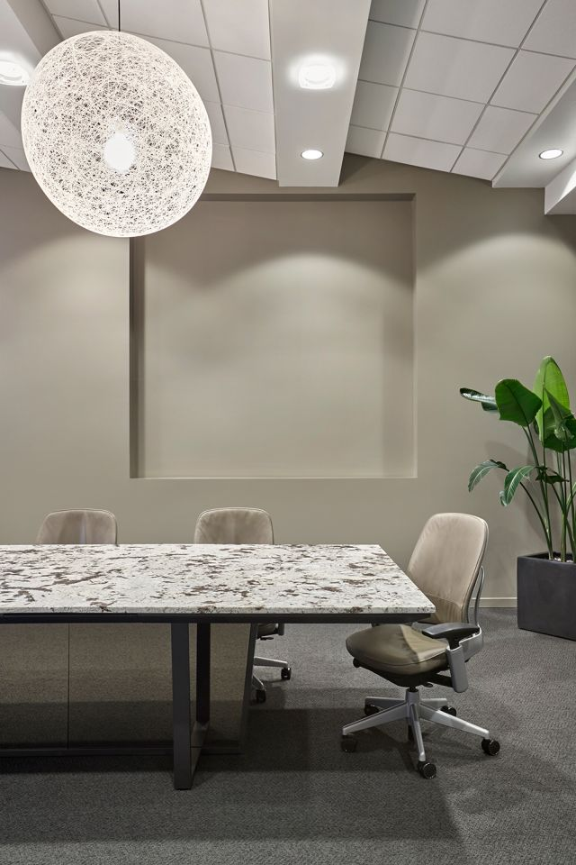 Crossbeam | Conference Table | Custom Granite Top | Mirrored Acrylic Panels | Storm Powder Coat Base