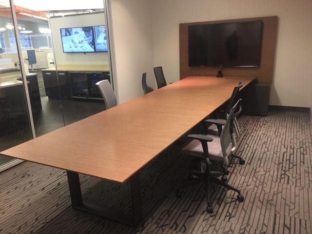 Custom | Flow Hoop Base | Two4Six Media Table | Oak Linea Veneer | Storm Powdercoat Hoop Base