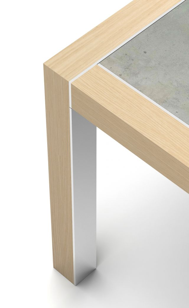Epono | Community Table | Dune Veneer | Concrete Top | Polished Stainless Metal Accents | Edge Detail