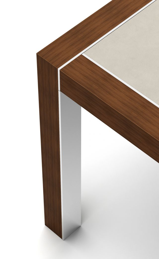 Epono | Edge Detail | G31 Otter Walnut Veneer | Polished Stainless Metal Accent | Pietra Di Osso Porcelain Table Top