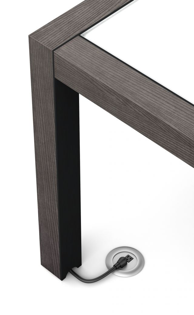 Epono | Community Table | Char Ash Veneer | Black Powdercoat Metal Accents | Wire Management | Standing Height