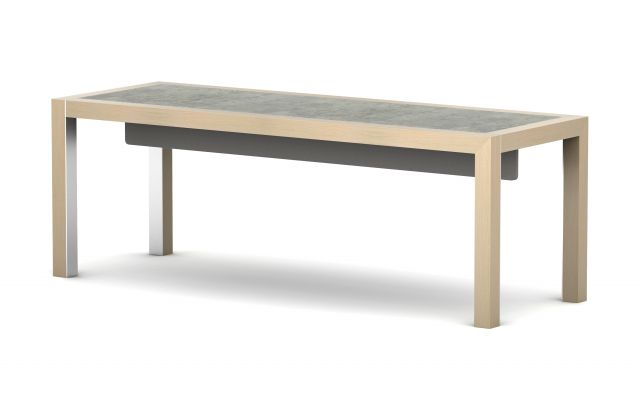 Epono | Community Table | Dune Veneer | Custom Concrete Top | Felt Modesty Panel | Standing Height Table