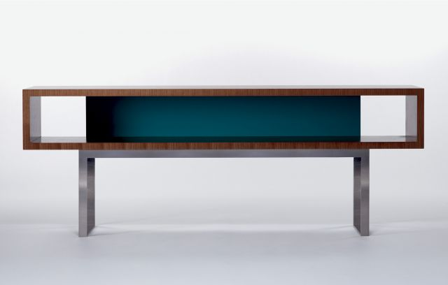 Emme | Open Console | S87 Peacock Paint | G37 Castano Walnut Veneer | Brushed Stainless Metal