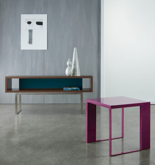 Emme | Open Console and Occasional Table | Punch and Peacock Paint | G37 Castano Walnut Veneer | Brushed Stainless Metal