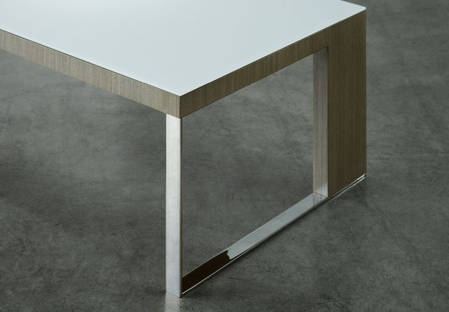 Emme | Rectangle Coffee Table | WS White Satin Backpainted Glass Top | Custom Veneer | Chrome Leg