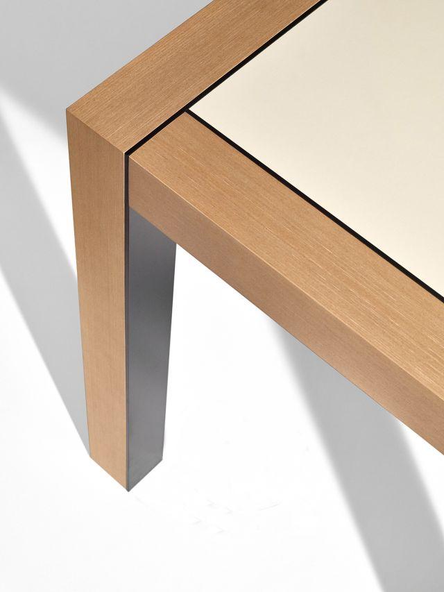 Epono   Community Table   Silver Birch Linea   Linoleum Top   Storm Powdercoat Metal Accents   Edge Power Detail