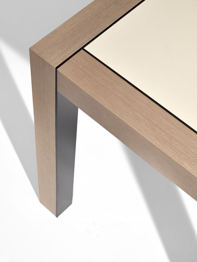 Epono | Community Table | Silver Birch Linea | Linoleum Top | Storm Powdercoat Metal Accents | Edge Power Detail