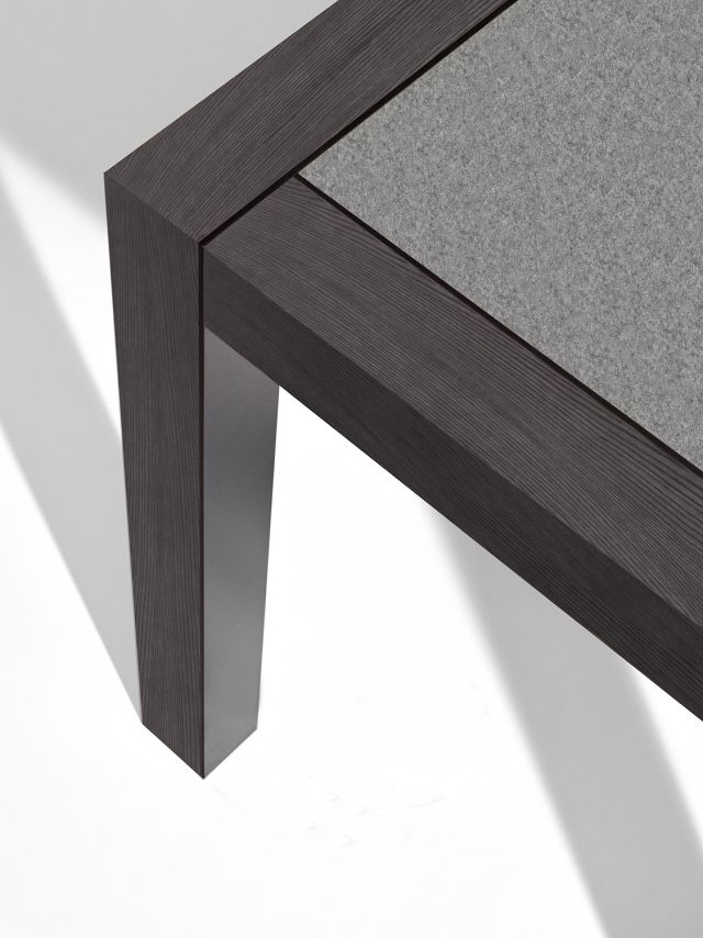 Epono | Community Table | Char Ash Veneer | Felt Top | Black Powdercoat Metal Accents