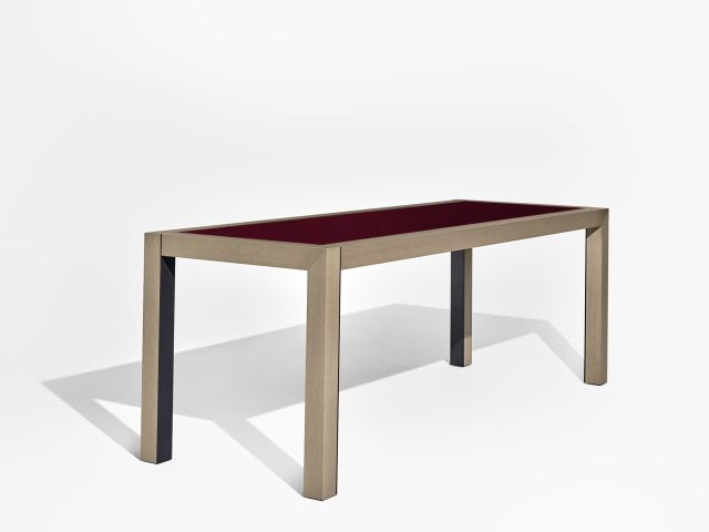 Epono | Community Table | Custom Felt Top | SIlver Birch Linea Veneer | Black Powdercoat | Standing Height