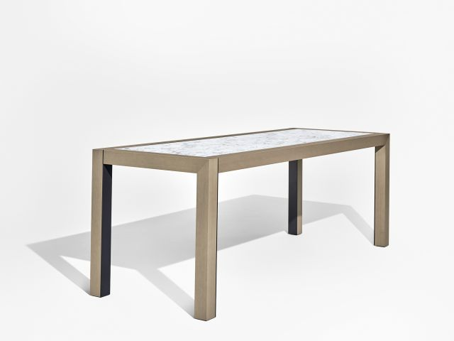 Epono | Community Table | Silver Birch Linea | Carrara Marble Stone Top | Storm Powdercoat Metal Accents | Standing Height