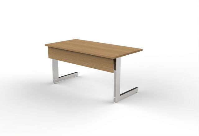 Fleet | C Leg Table | Oak Linea Veneer | Polished Chrome Leg