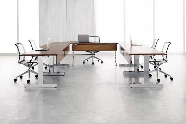 Fleet | Training Table | T Leg | Veneer Modesty | Veneer Top | U Shape Configuration