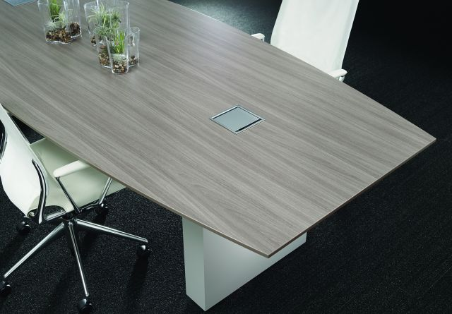 Flow | Conference Table | Boat Shape Weathered Ash Laminate Top | Cloud Paint Rectangle Base | Chicago Showroom