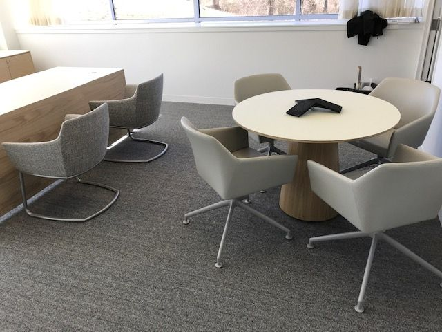 Flow | Meeting Table | Round White Satin Glass Top | Dune Veneer Cone Base